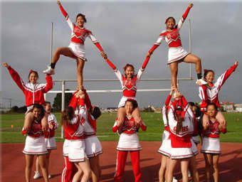 George Washington High School Cheerleaders Double Hitch Pyramid