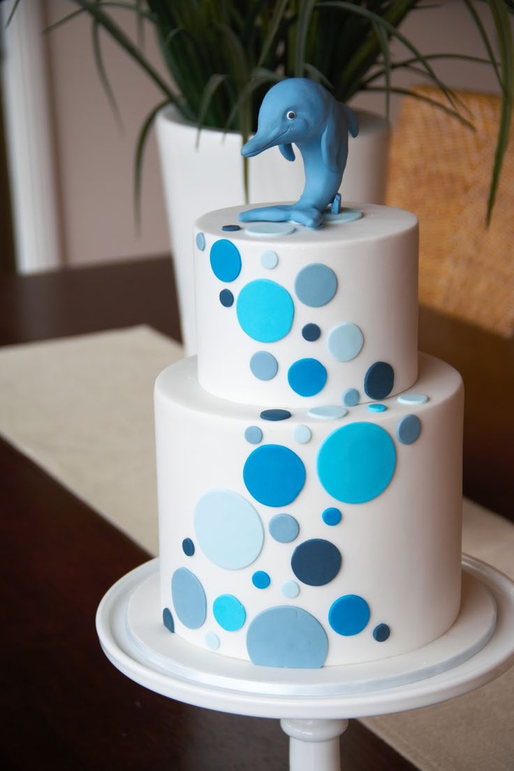couture baby shower cakes | Couture Cupcakes & Cookies: Dolphin Christening Cake