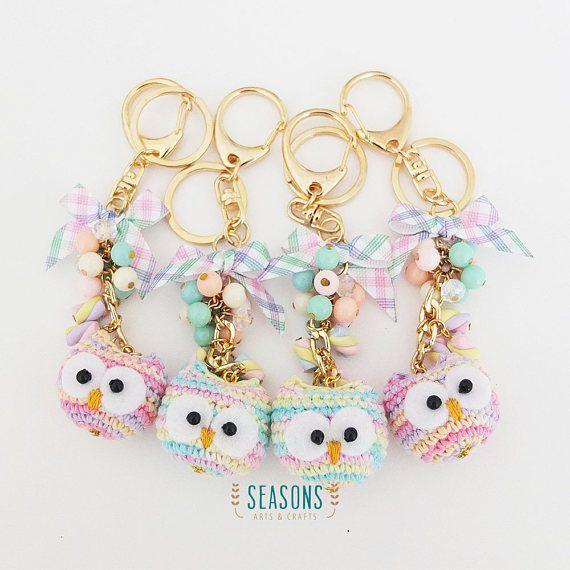 Owl Marshmallow Keychain Cute Owl Crochet Owl Amigurumi