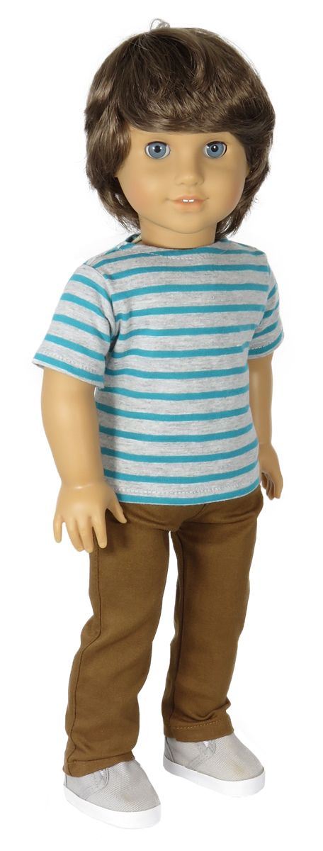 American Boy Doll Clothes Outfit.   Silly Monkey - Grey and Teal Striped Tee and Brown Pants, $20.00 (http://www.silly-monkey.com/products/grey-and-teal-striped-tee-and-brown-pants.html)