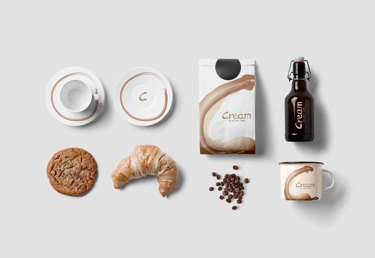 Cream Cafe on Behance #graphicdesign #logo #cream #cafe #coffeeshop #branding #visual_identity