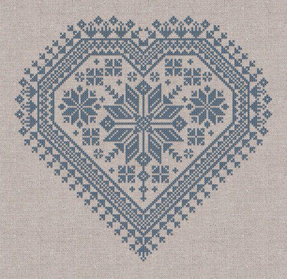 The Nordic Heart Romantic Cross-Stitch Pattern 4 por modernfolk