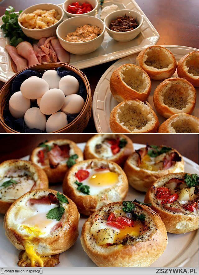 faszerowane bulki kanapki, eggs bake