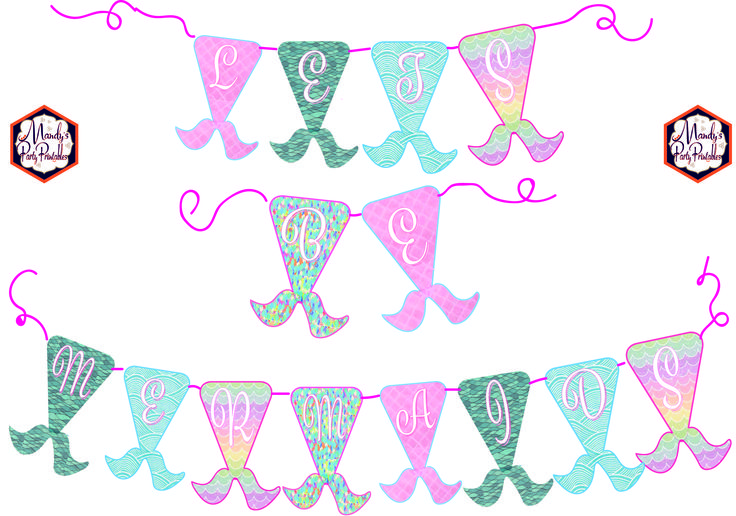 Free Mermaid Birthday Party Printables Mermaid Banner via Mandy's Party Printables
