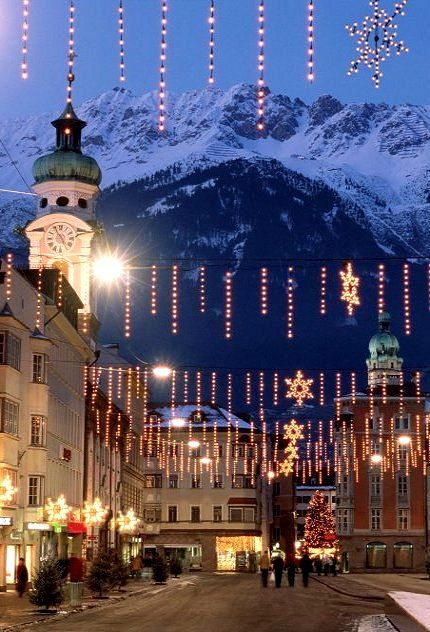 Christmas lights in Innsbruck, Austria. Wasn't there for Christmas but looking at this picture wish I had been.