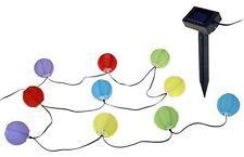 LED Solar Party Lichterkette 10 er Lampion bunt Lampionkette Garten Solarlampe