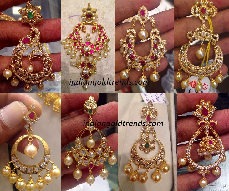 Latest Indian Gold And Diamond Jewellery Designs Designer Chandbali Earrings