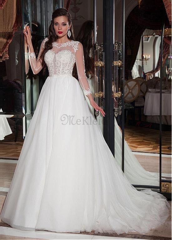 Tüllkleid Kathedrale Schleppe Schick & Modern Perlen Brautkleid - Bild 1