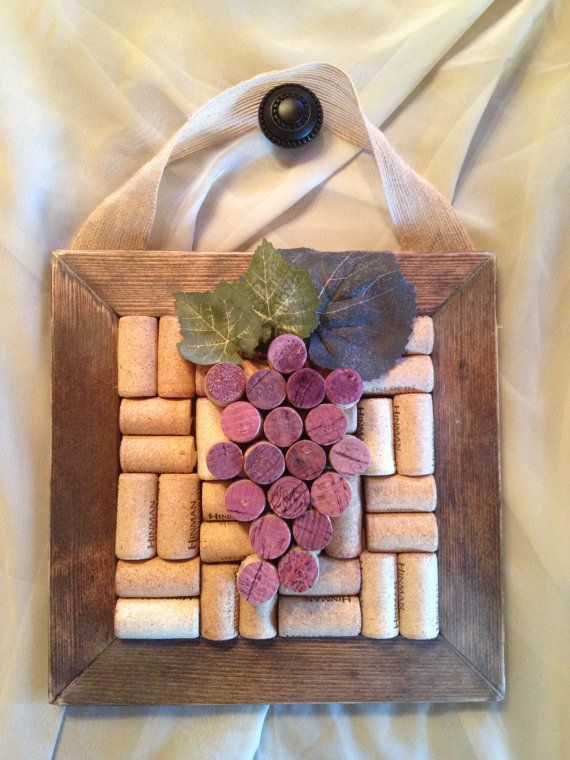 Wine Cork Grape Cluster Wall Hanging by WineALotMore on Etsy, $15.00