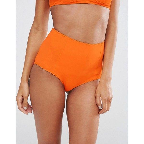 Monki High Waist Bikini Bottom ($17) ❤ liked on Polyvore featuring swimwear, bikinis, bikini bottoms, orange, high rise bikini bottom, swim bikini bottoms, high waisted bikini bottom swimwear, high waisted bikini bottoms and high-waisted bikinis