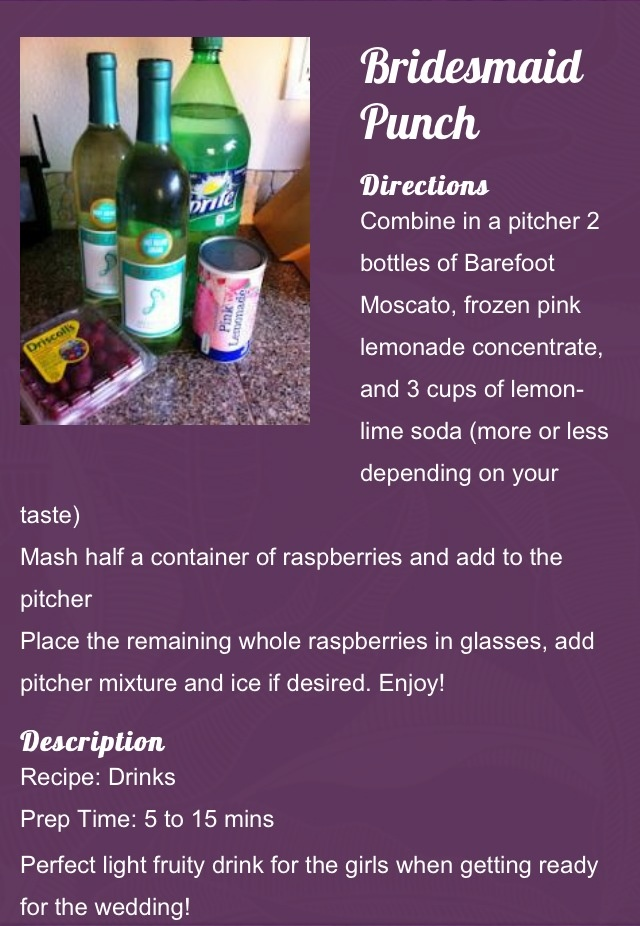 Bridesmaids Punch.  This was easy and really delicious,