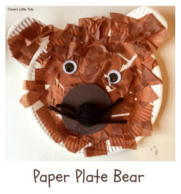 Paper Plate Bear fun craft for toddlers and preschoolers. Great craft to accompany the book We're Going on a Bear Hunt.