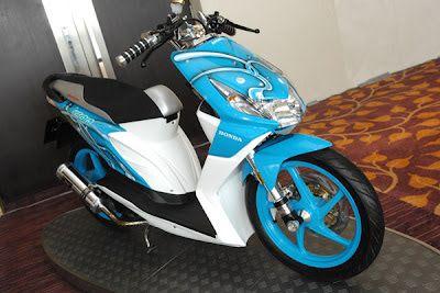 Modifikasi Honda Beat warna biru