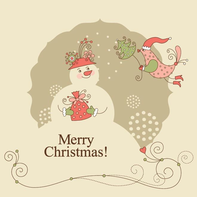 Free Vector Illustration Of Red Santa Claus Bird With Christmas Tree  Glowing To Snowman Vintage Style Merry Christmas Greetings Card Templat.