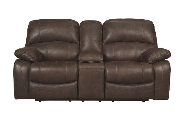 Smooth Gliding Loveseat Recliner with Hidden Console in Distressed Brown Leather Merges Comfort and Function
