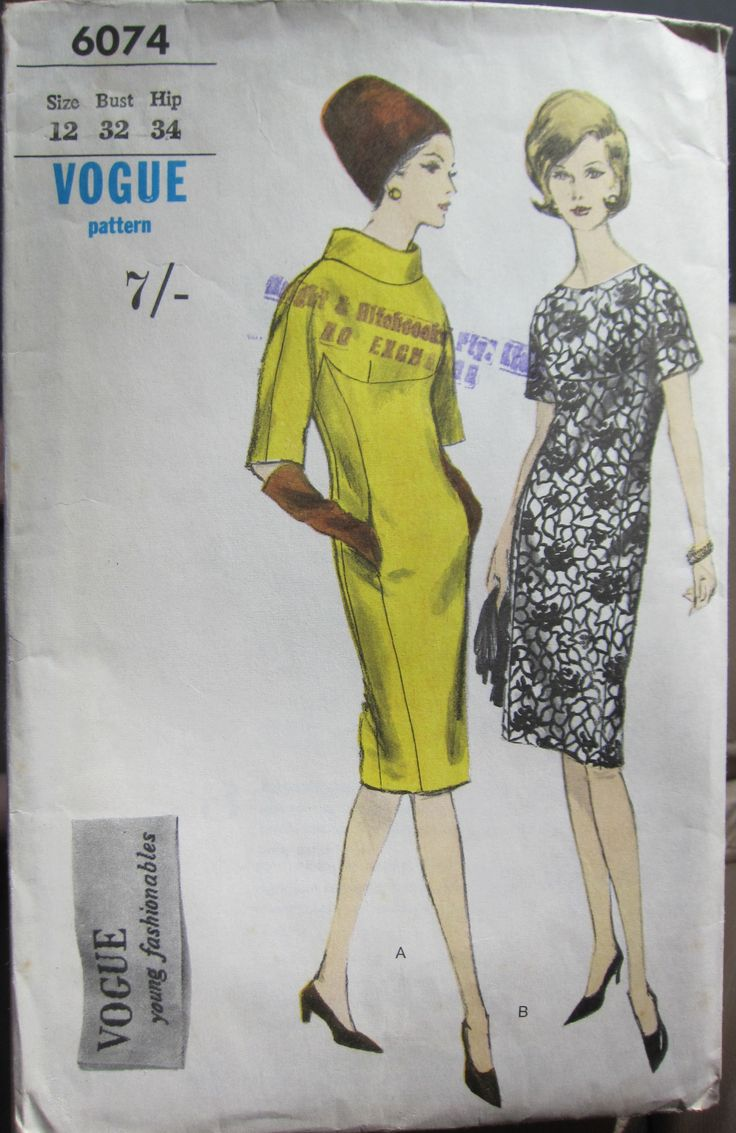 1960's pattern for a one piece dress, sleeves cut in one from yoke.