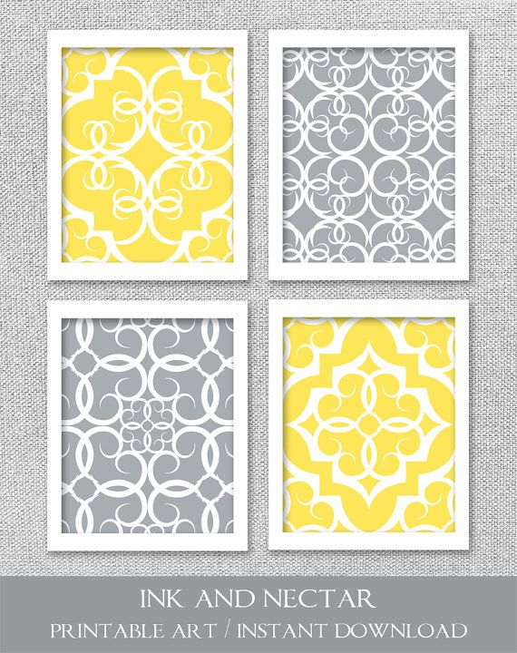 PRINTABLE Art Gray and Yellow Art INSTANT by inkandnectardigital