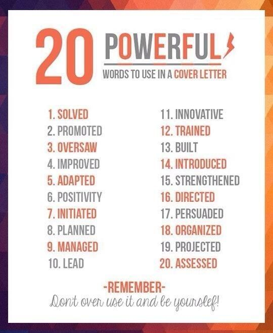 good words for cover letters - Good Words To Use On A Resume