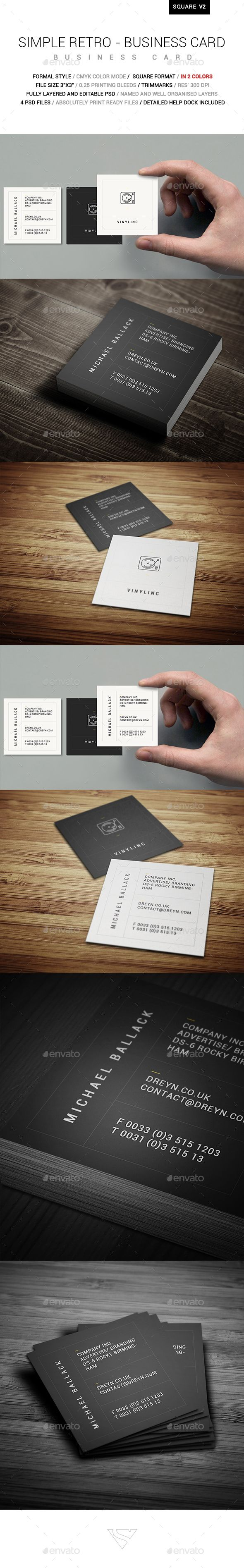 Simple Retro Square Business Card - #Corporate #Business #Cards Download here: https://graphicriver.net/item/simple-retro-square-business-card/19452143?ref=alena994