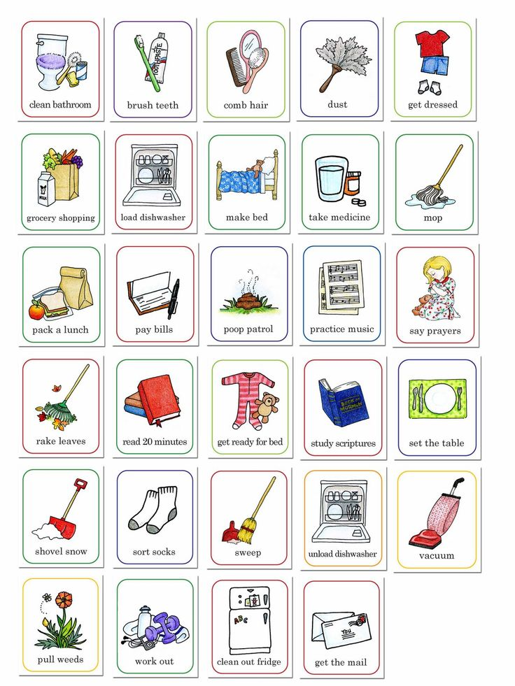 susan fitch design: job chart illustrations | for behavior or chore chart