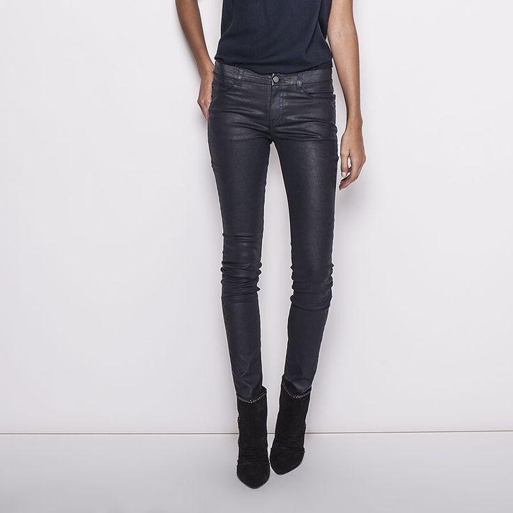 pantalon enduit femme ikks bg22185 145 mode. Black Bedroom Furniture Sets. Home Design Ideas
