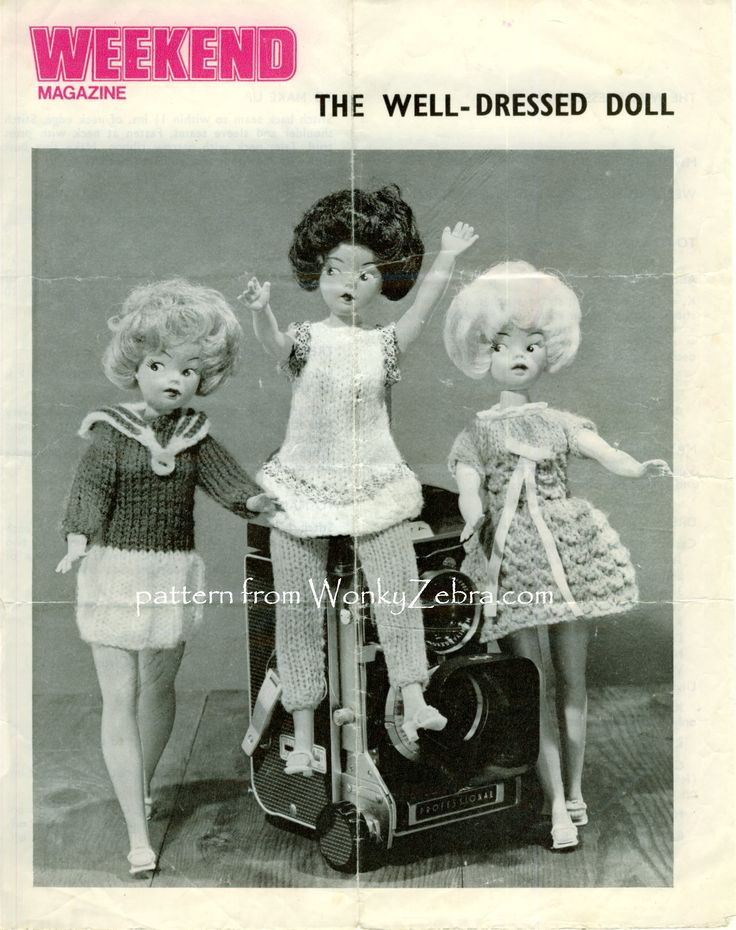 "Teen doll knitting pattern  ""well dressed doll"" from a ""Weekend"" magazine. Several nice dresses and little outfits ( see other pins on this board) PDF from WonkyZebra WZ 736"