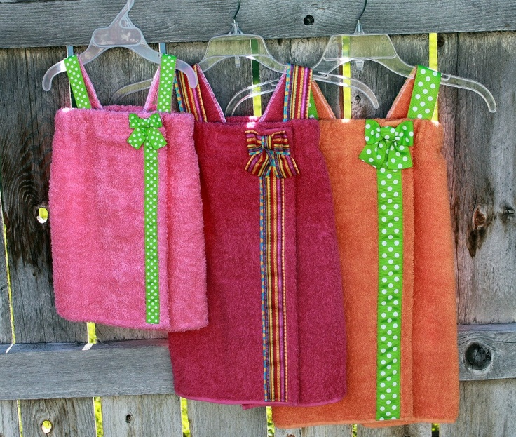 Child's Towel Wraps Spa Wraps--Set of 3--SALE--You CHOOSE Your COLORS--Great for Pool, Beach, and Bath--Wonderful Gift. $80.50, via Etsy.