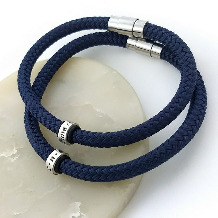⛵ Sailing rope bracelets with personalised silver rings 🌊 Available in black, navy and blue.