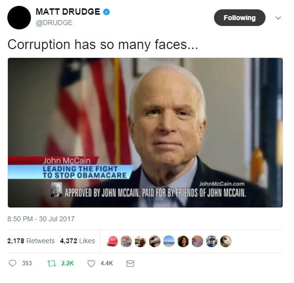 """Matt Drudge Goes After McCain: """"Corruption Has So Many Faces"""""""