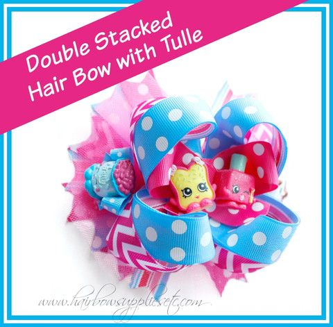 How to Add Tulle to a Hair Bow – Shopkins Hair Bow - Adorable hair bow instructions using pink and blue ribbon - Easy DIY hair bow tutorial - Hairbow Supplies, Etc.