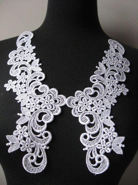 White lace applique venise applique guipare by Threads2Trends, $3.65