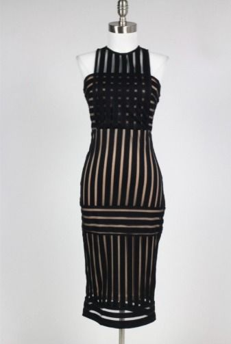 Rules of Intent Striped Black Bodycon Dress - BohoPink