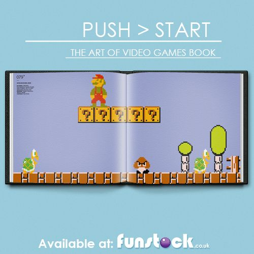 """Push Start: The Art of Video Games book is a glossy, high-resolution love letter to the history of video game art and graphics. From Space Invaders to Street Fighter to Resident Evil 4, the book features many games you'll recognise, and some you may not. Comes in a hardcover case, and with a green 10"""" vinyl of remixed game tunes.  http://www.funstock.co.uk/push-start-the-art-of-video-games-book  Use code """"PINFUN"""" for 5% off!  #retrogames #retrogaming #pixelart #gameart #giftideas #gamegifts"""