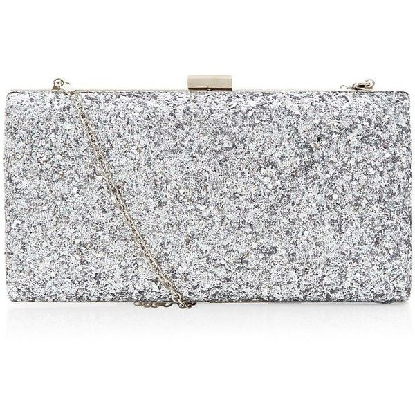 Silver Glitter Chunky Clutch (522.200 IDR) ❤ liked on Polyvore featuring bags, handbags, clutches, purses, silver handbag, silver purse, glitter purse, chain handle handbags and chain strap handbag