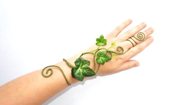 My latest design here I have made a poison ivy accessory, tree people fancy dress slave bracelet hand wrist cuff, a slimmer more delicate style