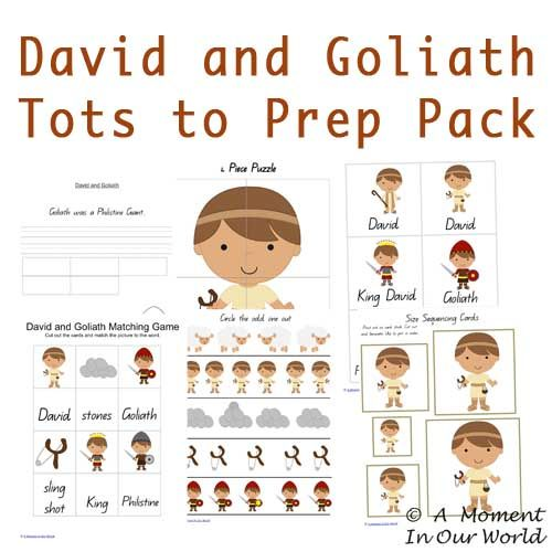 David and Goliath Tots to Prep Pack   Includes:   Story Pages Sentence Writing Size Sequencing Flashcards Odd one Out Counting Adding Matching Dominoes Tic Tac Toe  and much much more   So much fun for everyone!!!   David And Goliath Tots to Prep Pack       Linking to: 123 Homeschool 4 Me Classroom …
