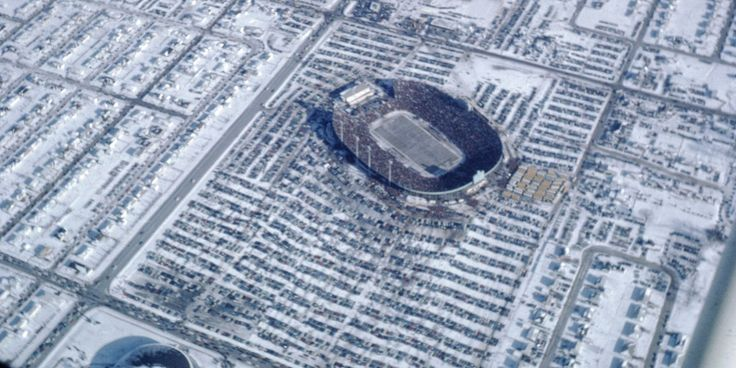 Richard Jerow of Kaukauna wanted to see what the NFL Championship Game looked like from 10,000 feet. No matter that the temperature at Austin Straubel Airport in Green Bay was 17 below zero...This photo of Lambeau Field on Dec. 31, 1967 was taken by Judy Michelson Ambelang from the passenger seat of a Cessna 140 flown by Richard Jerow of Kaukauna.  (Photo: Courtesy of Bonnie Jerow and Judy Michelson Ambelang)