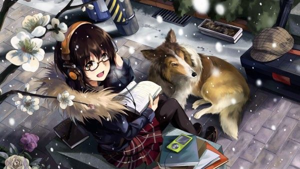 animal, dog, glasses, headphones, neko_yanshoujie, original, pantyhose, seifuku, short_hair, snow - Animeflow