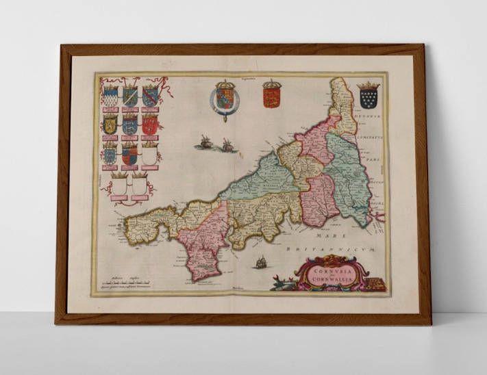 Old Map of Cornwall, originally created by Willem Janszoon Blaeu, now available as a 'museum quality' wall hanging print.  #AntiqueMapBude #AntiqueMapEngland #AntiqueMapNewquay #Blaeuinteriordesigns #BlaeuMapofEngland #BlaeuReproductions #cornwallgifts #homedecor #travelposter #interiordesign #hahnemuhle #oldmap #OldMapPadstow #OldMapPenzance #OldMapStIves #OldMapTruro #PadsteinMap #VintageMapFalmouth