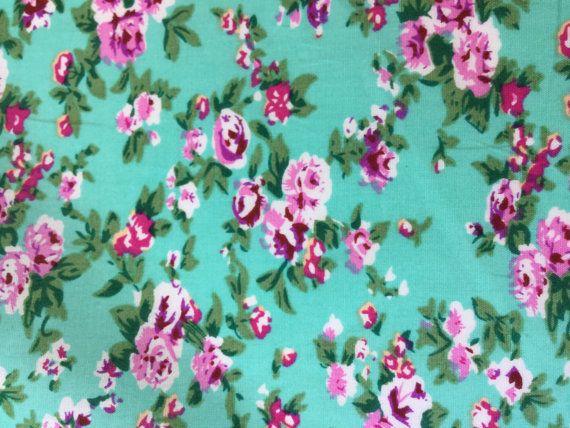 Floral Jade Green cotton fabric Summer dress Material