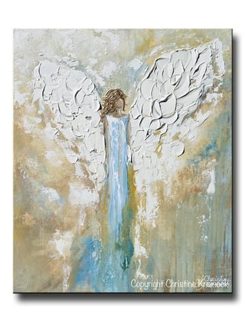 "ORIGINAL #Art Angel Painting Abstract Paintings Guardian Angel Wings ""By Your Side"" - 24x20"" Gallerey Fine art, abstract, angel spiritual art depicting guardian angel, protecting, providing inspiration and comfort.  Blue White Gold Modern Home Decor Wall Art. Holiday Christmas Gift. Vintage feel, coastal, farmhouse style. - Contemporary Artist, Christine Krainock"