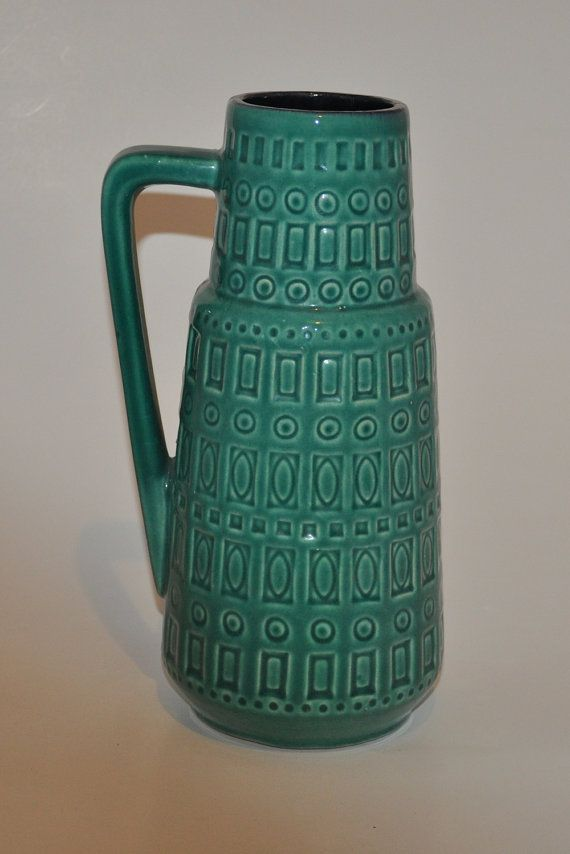 Scheurich Vase with handle, turquoise, green, Vintage, retro, West German Keramiks, Pottery, Ceramics, Mid Century Modern