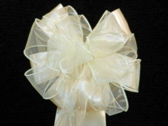 Ivory Satin and Ivory Sheer Wedding pew bows by creativelycarole, $132.00