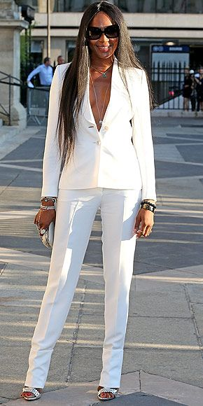 Last Night's Look: Love It or Leave It? Vote Now!   NAOMI CAMPBELL   in an all-white, two-piece Versace suit at the Atelier Versace show during Paris Haute Couture Fashion Week.