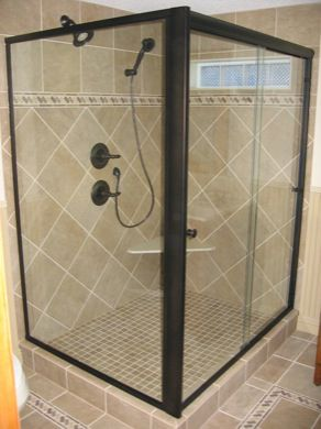 semi frameless bypass shower enclosure with return panel euro styled header with traditional through