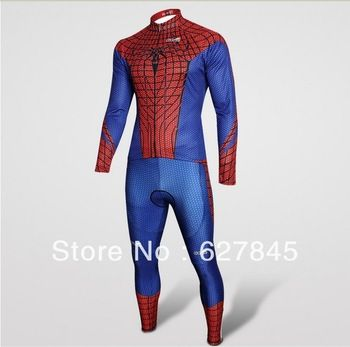 Free Shipping Hot Sale 2013 New Arrival One Suit SpiderMan Cycling Jersey,Bicycle Cycling Clothes Long Sleeve T-shirt + Pant