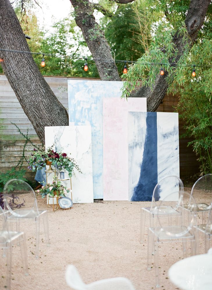 Custom Paintings Ceremony Backdrop With Ghost Chairs   Bellwether Designs   Matthew Moore Photography