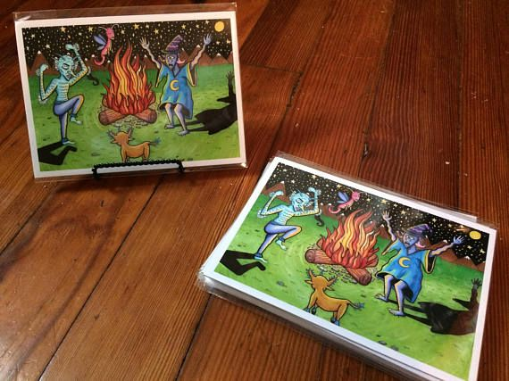 Limited edition of ten 5x7 art prints. Each print is mounted on backing board and in a plastic casing. However, you can choose to have it framed before I ship it! Each art print is also signed, numbered, and dated.  This piece is titled Bonfire and the original was made with copic marker and ink on Bristol board. The original has been shown in two gallery exhibitions - The Dam Little Art Gallery in Boulder City, NV and Conception Art Show in Chicago, IL  Art prints are great for adding some…