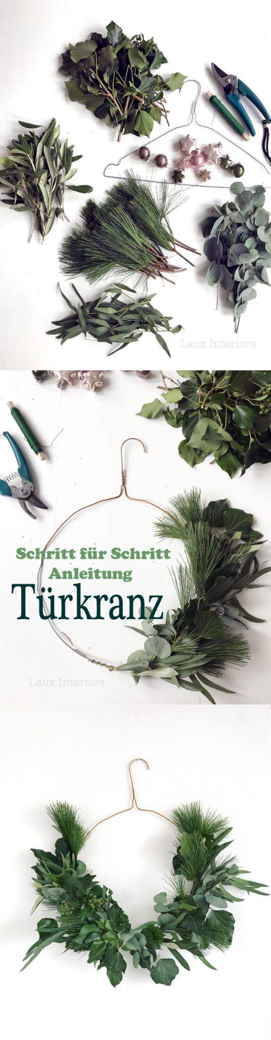 wreaths for front door, DIY, wire hanger, Christmas, natural, eucalyptus | Kranz, Türkranz, Weihnachten, selber machen, natürlich, Kleiderbügel, Eukalyptus