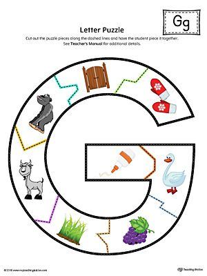 Letter G Puzzle Printable (Color) Worksheet.The Letter G Puzzle in Color is perfect for helping students practice recognizing the shape of the letter G, and it's beginning sound, along with developing fine-motor skills.